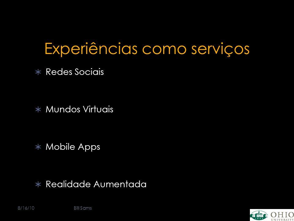 Experiências como serviços Redes Sociais Mundos Virtuais Mobile Apps Realidade Aumentada 8/16/10Bill Sams
