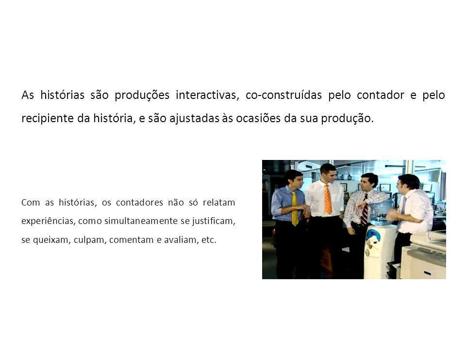 Bibliografia: Binet (2012) Jefferson (1978) Hall (1993) Labov & Waletzky (1966) Labov (1972) Monteiro (2011) Ochs (DATA) Sacks (1992)