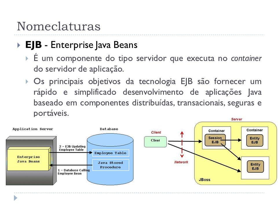 Nomeclaturas EJB - Enterprise Java Beans É um componente do tipo servidor que executa no container do servidor de aplicação. Os principais objetivos d