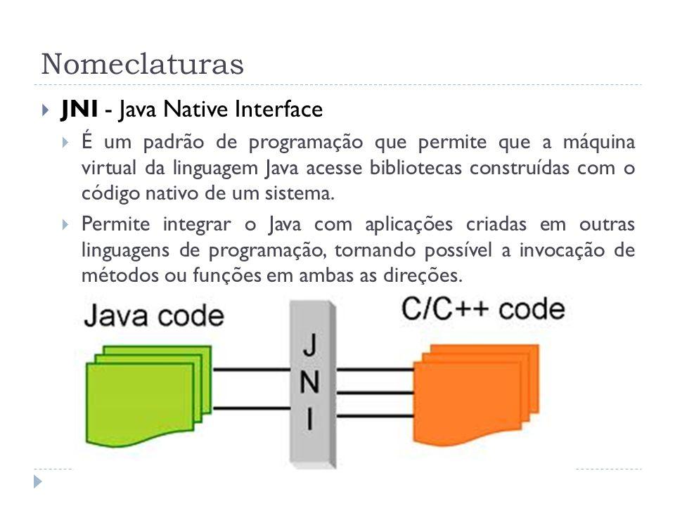 Nomeclaturas JNI - Java Native Interface É um padrão de programação que permite que a máquina virtual da linguagem Java acesse bibliotecas construídas