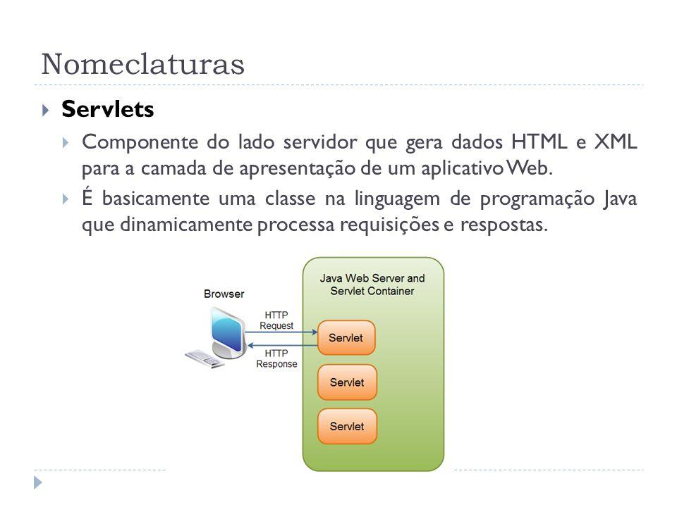 Nomeclaturas Servlets Componente do lado servidor que gera dados HTML e XML para a camada de apresentação de um aplicativo Web. É basicamente uma clas