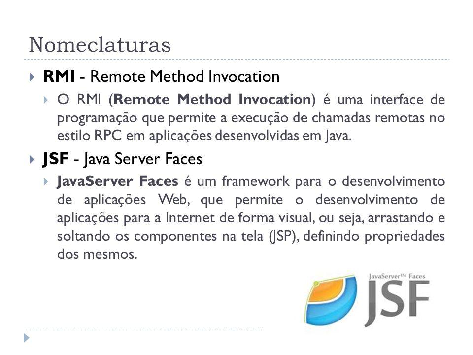 Nomeclaturas RMI - Remote Method Invocation O RMI (Remote Method Invocation) é uma interface de programação que permite a execução de chamadas remotas