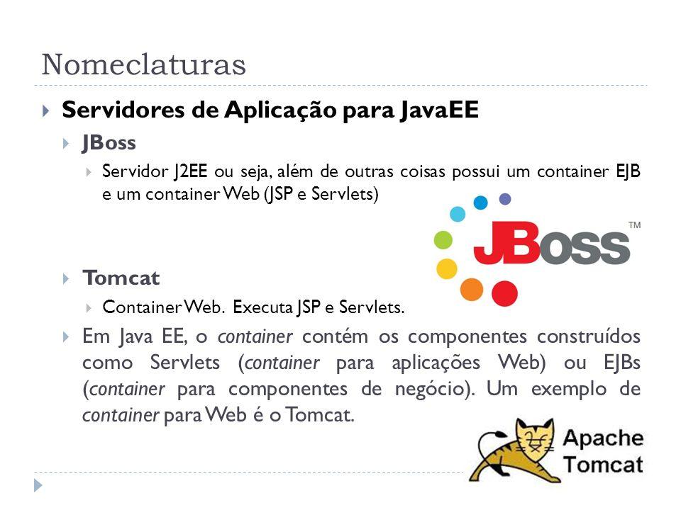 Nomeclaturas Servidores de Aplicação para JavaEE JBoss Servidor J2EE ou seja, além de outras coisas possui um container EJB e um container Web (JSP e