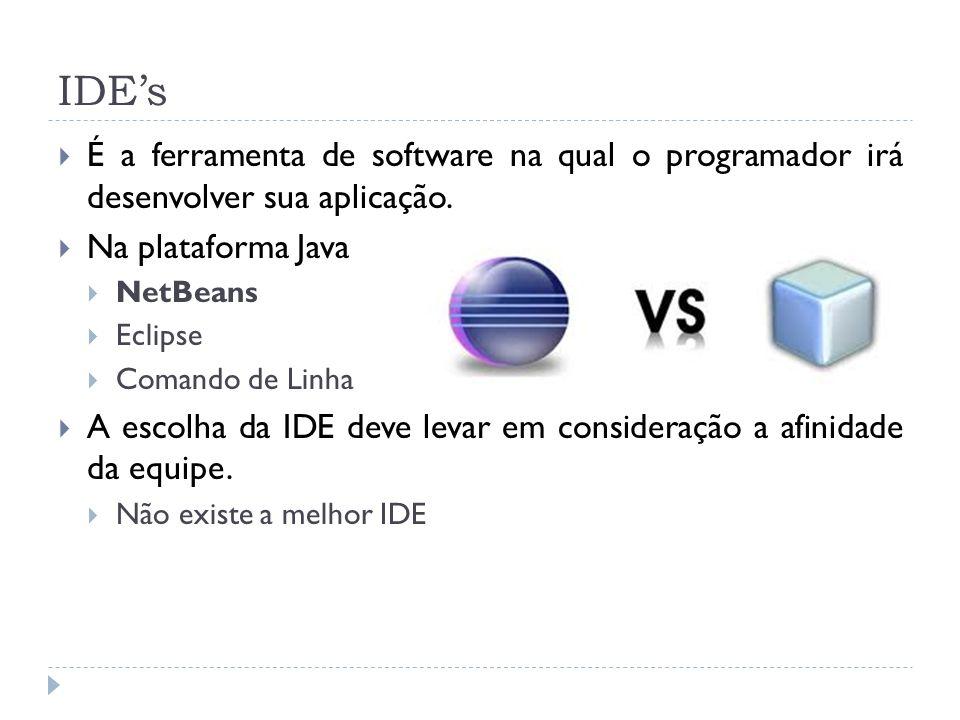 IDEs É a ferramenta de software na qual o programador irá desenvolver sua aplicação. Na plataforma Java NetBeans Eclipse Comando de Linha A escolha da