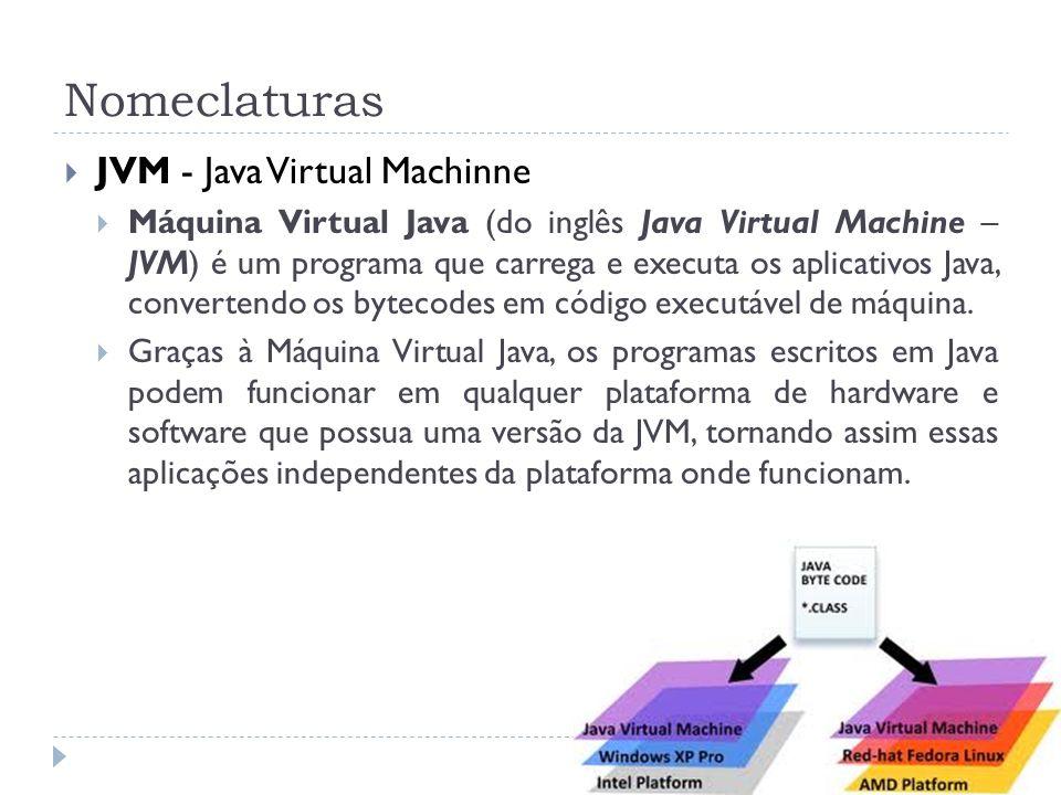 Nomeclaturas JVM - Java Virtual Machinne Máquina Virtual Java (do inglês Java Virtual Machine – JVM) é um programa que carrega e executa os aplicativo
