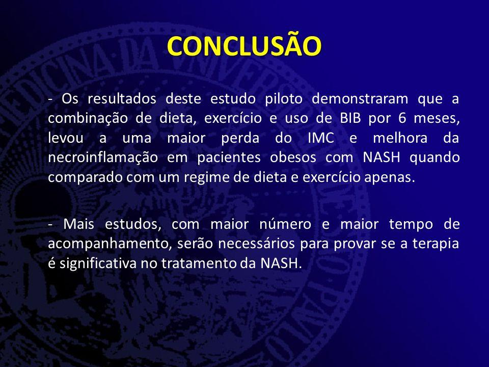 - Os resultados deste estudo piloto demonstraram que a combinação de dieta, exercício e uso de BIB por 6 meses, levou a uma maior perda do IMC e melhora da necroinflamação em pacientes obesos com NASH quando comparado com um regime de dieta e exercício apenas.