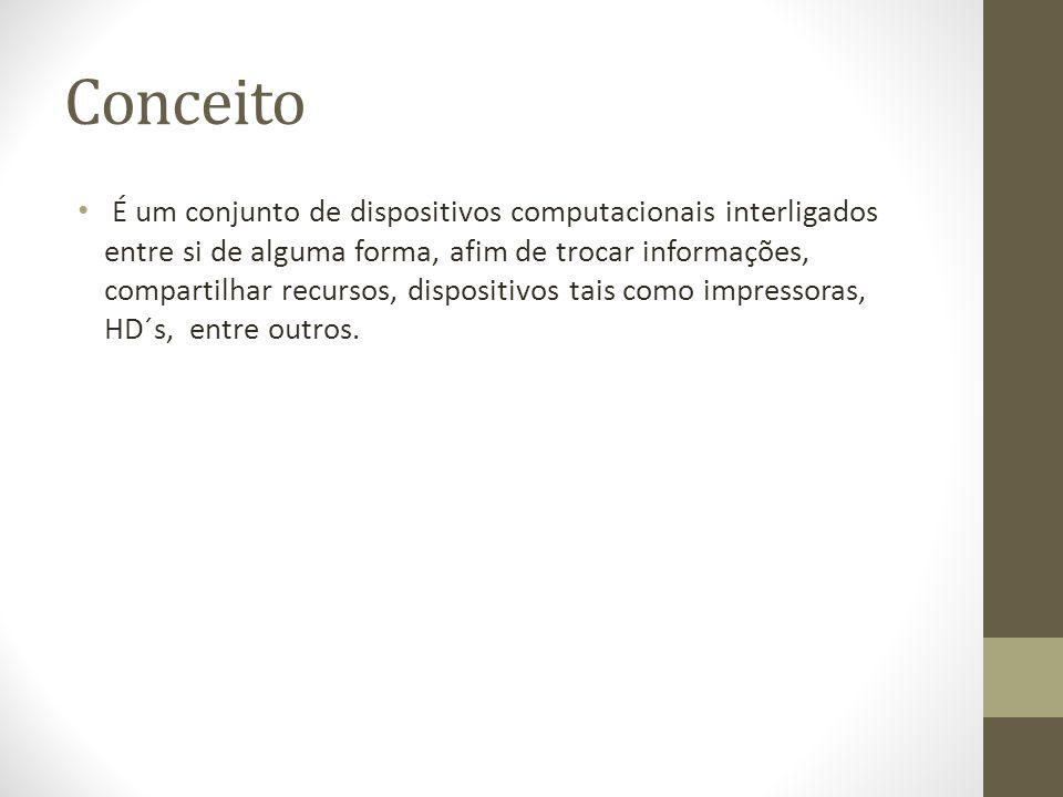 Conceito É um conjunto de dispositivos computacionais interligados entre si de alguma forma, afim de trocar informações, compartilhar recursos, dispositivos tais como impressoras, HD´s, entre outros.