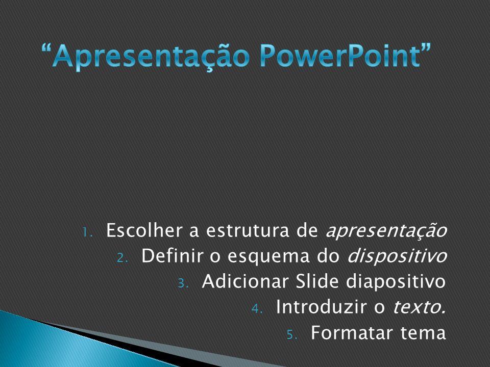 1.Escolher a estrutura de apresentação 2. Definir o esquema do dispositivo 3.