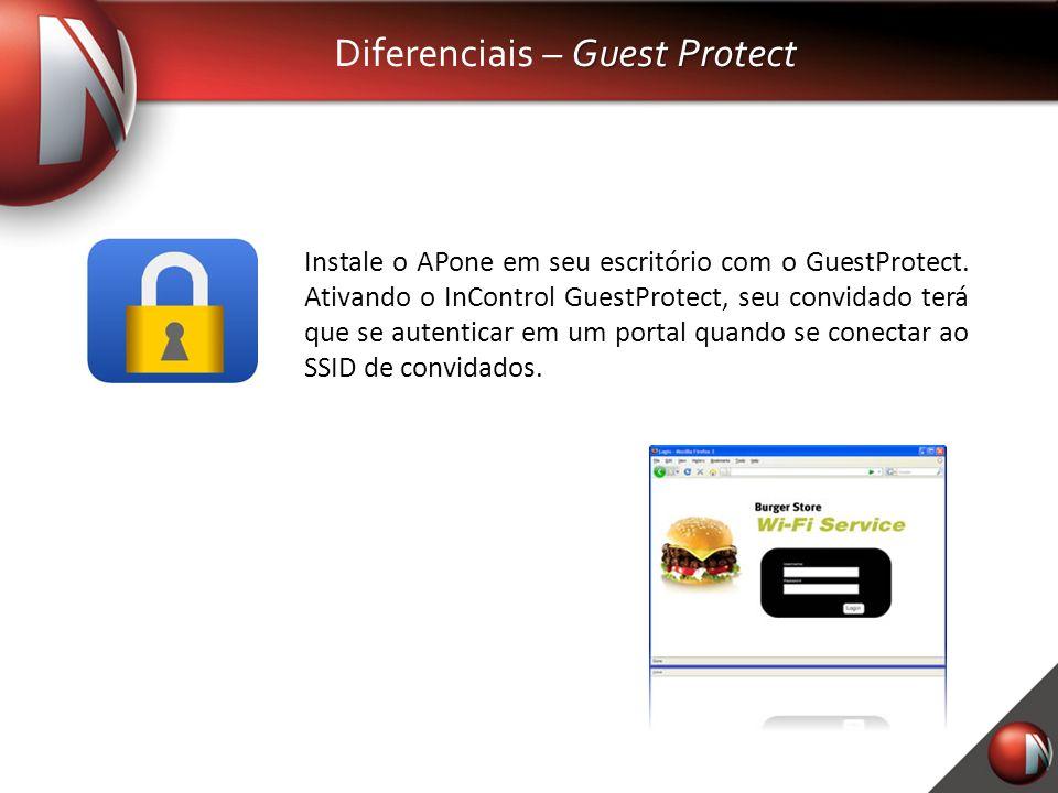 Guest Protect Diferenciais – Guest Protect Instale o APone em seu escritório com o GuestProtect. Ativando o InControl GuestProtect, seu convidado terá