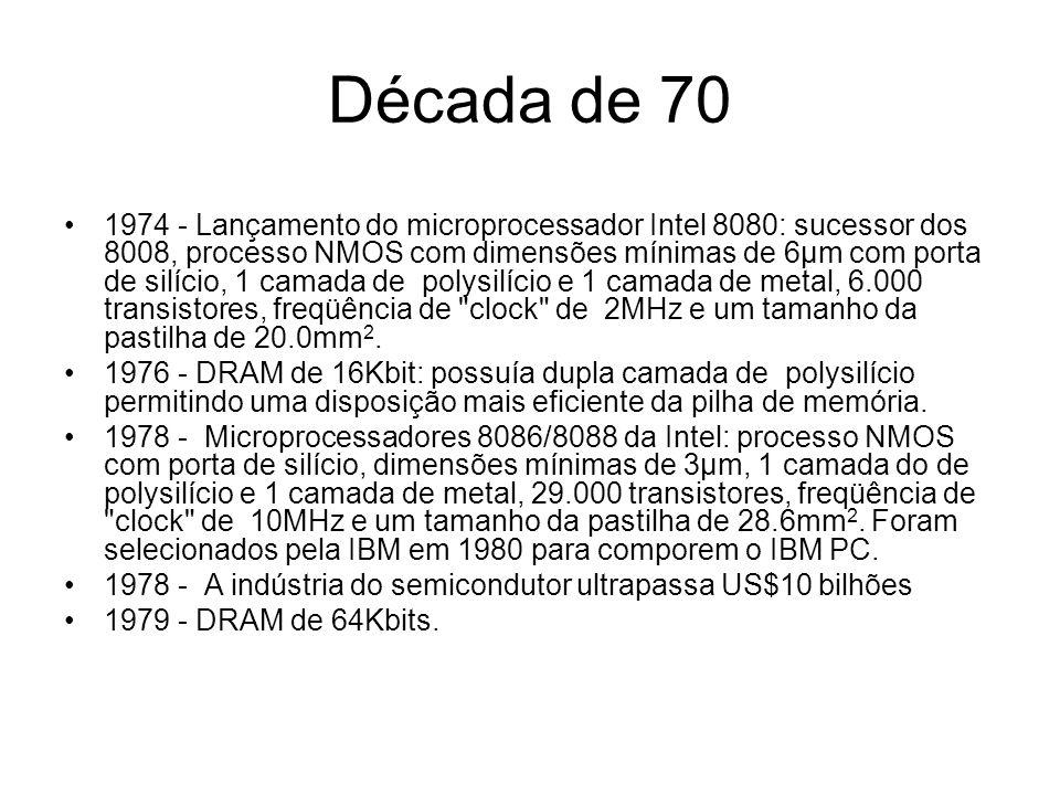 Década de 80 1980 - DSPs comerciais: lançados inicialmente pela Lucent e NEC.