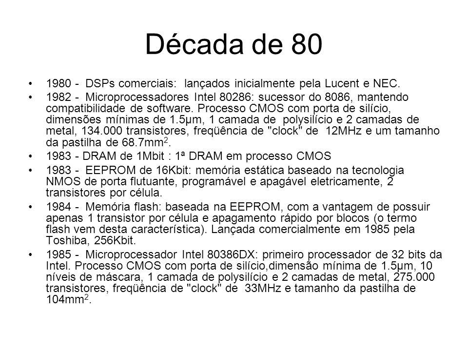 Década de 80 1986 - Memória flash ETOX de 256Kbit: EPROM Tunnel Oxide, permite operação em baixas tensões.