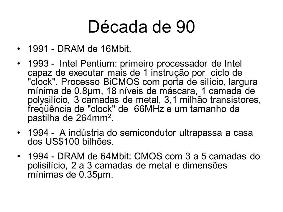 Década de 90 1995 - Intel Pentium Pro: integra em um mesmo encapsulamento o chip do processador e a memória cache, ambos operando à mesma frequüência.