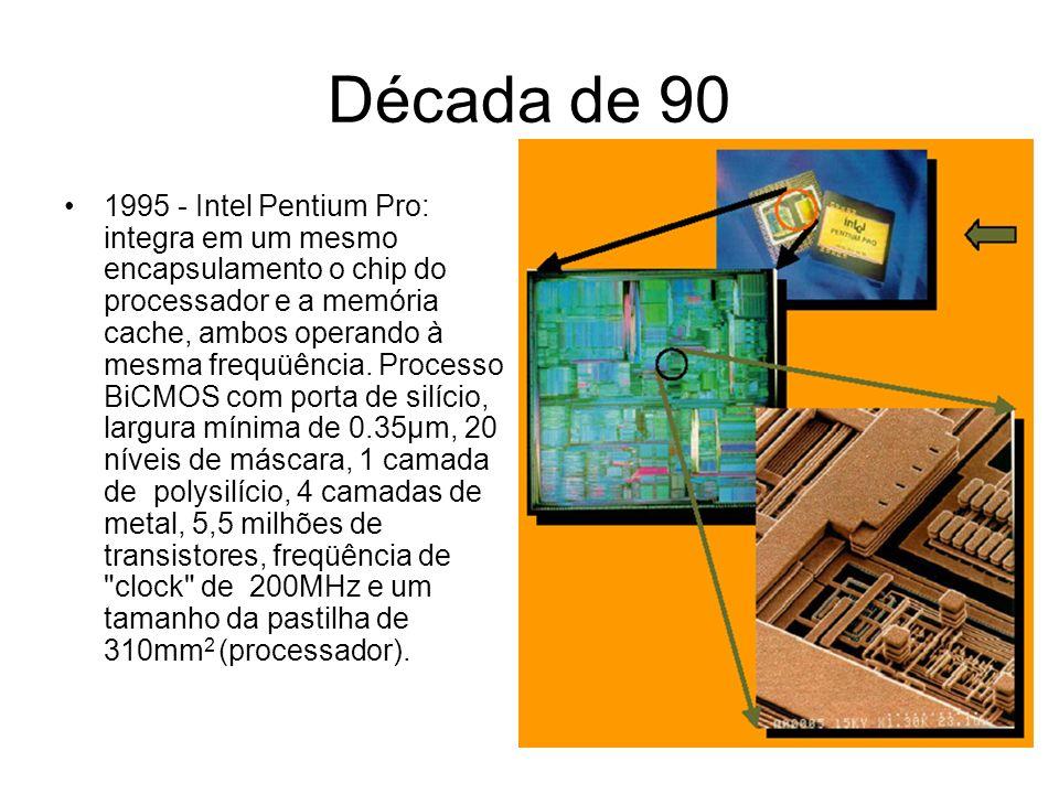 Década de 90 1997 - Intel Pentium II: Processo CMOS com porta de silício, largura mínima de 0.35µm, 16 níveis de máscara,1 camada de polysilício, 4 camadas de metal, 7,5 milhão transistores, freqüência de clock de 300MHz e um tamanho da pastilha de 209mm 2.