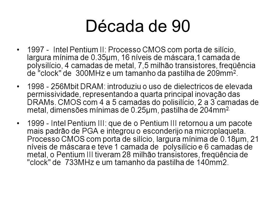 Anos 2000 2000 – Intel Pentium 4: introduziu uma unidade de processamento inteiro que funciona duas vezes mais rápido que o processador.
