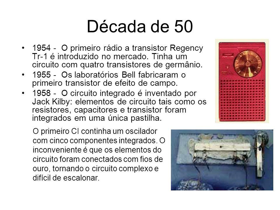 Década de 50 1959 - Invenção da tecnologia planar: uma fina camada isolante de dióxido do silício é depositada sobre o semicondutor, sendo abertos furos nas regiões de contato com as junções.