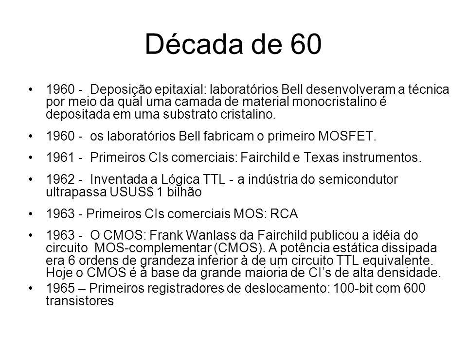 Década de 60 1965 - A lei de Moore: em 1965 Gordon Moore da Fairchild observou que o número dos componentes por unidade de área de um CI dobrava a cada ano Esta observação tornou-se conhecida como a lei de Moore, sendo o período posteriormente corrigido para 18 meses.