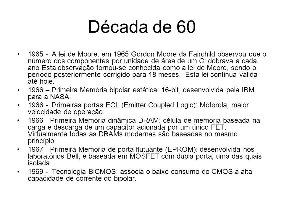 Década de 70 1970 – 1ª DRAM comercial:1Kbits, processo PMOS com porta de silício, 6 níveis de máscaras com dimensões mínimas de 8µm, chip com 10mm2, US$21.