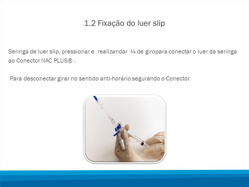 1.2 Fixação do luer slip Seringa de luer slip, pressionar e realizandar ¼ de giropara conectar o luer da seringa ao Conector NAC PLUS®. Para desconect