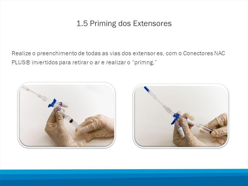 1.5 Priming dos Extensores Realize o preenchimento de todas as vias dos extensor es, com o Conectores NAC PLUS® invertidos para retirar o ar e realizar o primng.