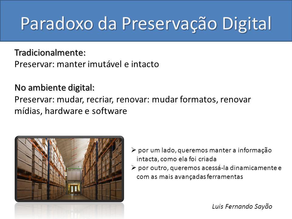 Paradoxo da Preservação Digital Tradicionalmente: Preservar: manter imutável e intacto No ambiente digital: Preservar: mudar, recriar, renovar: mudar