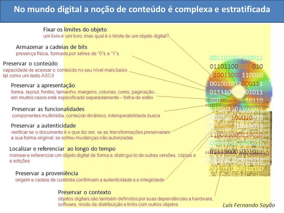No mundo digital a noção de conteúdo é complexa e estratificada 001101001100011 011011000010010 110011000110010 001001011000111 011110001001011 000011