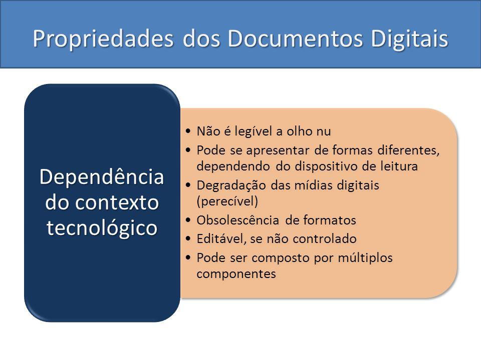 Propriedades dos Documentos Digitais Não é legível a olho nu Pode se apresentar de formas diferentes, dependendo do dispositivo de leitura Degradação