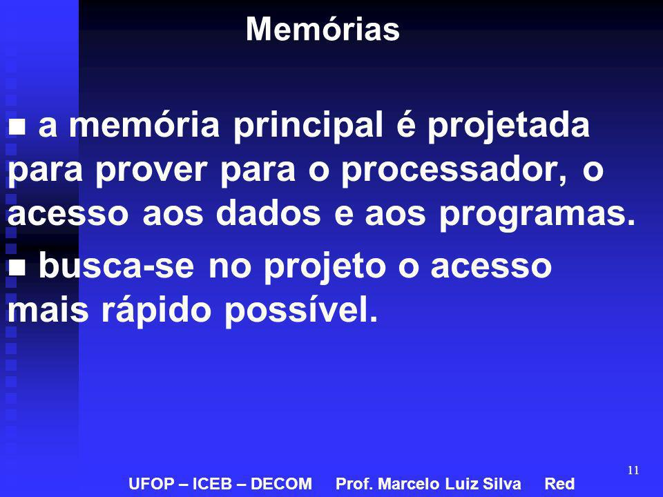 11 Memórias a memória principal é projetada para prover para o processador, o acesso aos dados e aos programas. busca-se no projeto o acesso mais rápi
