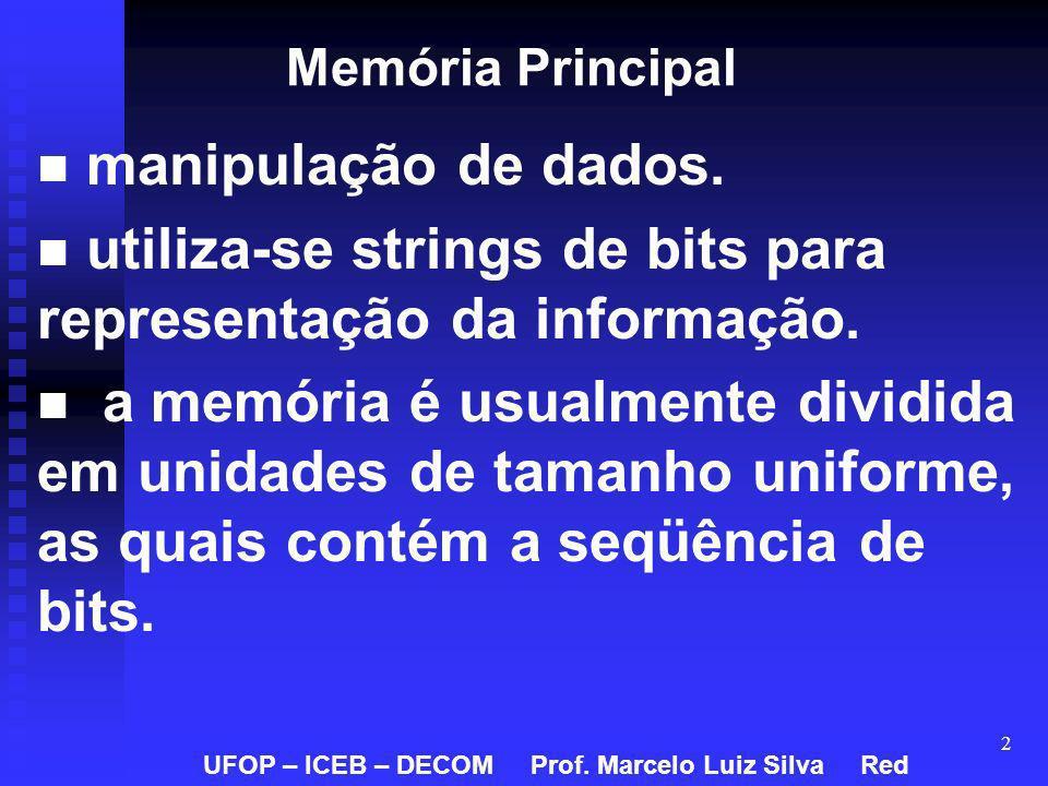 2 Memória Principal manipulação de dados. utiliza-se strings de bits para representação da informação. a memória é usualmente dividida em unidades de