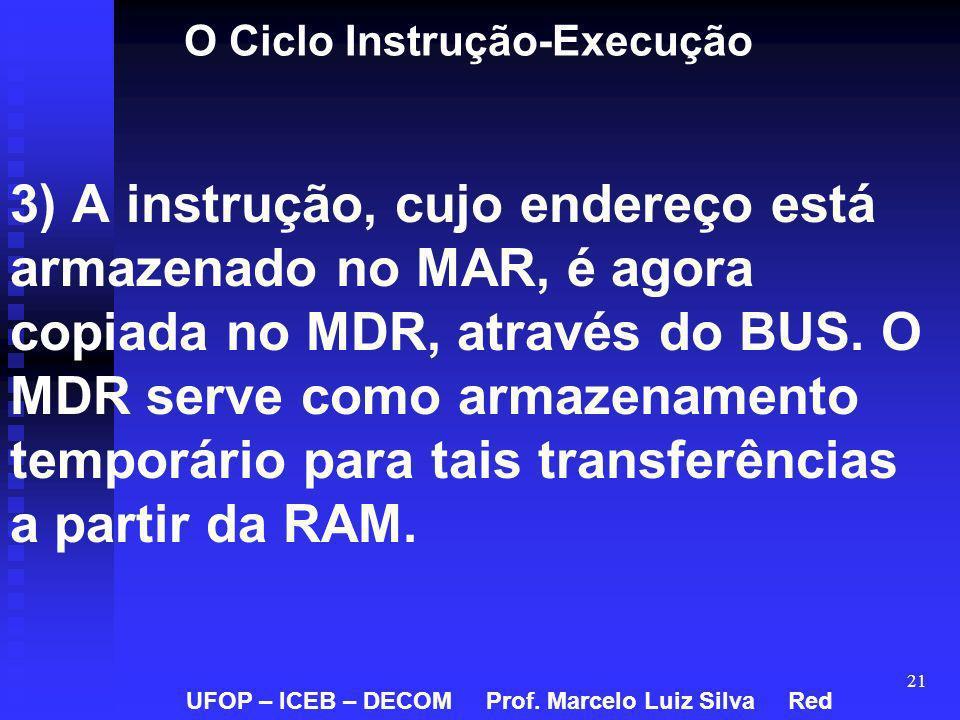 21 O Ciclo Instrução-Execução 3) A instrução, cujo endereço está armazenado no MAR, é agora copiada no MDR, através do BUS. O MDR serve como armazenam