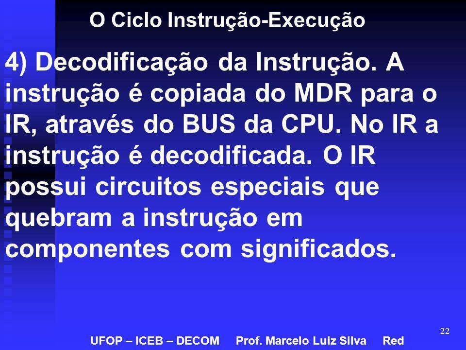 22 O Ciclo Instrução-Execução 4) Decodificação da Instrução. A instrução é copiada do MDR para o IR, através do BUS da CPU. No IR a instrução é decodi