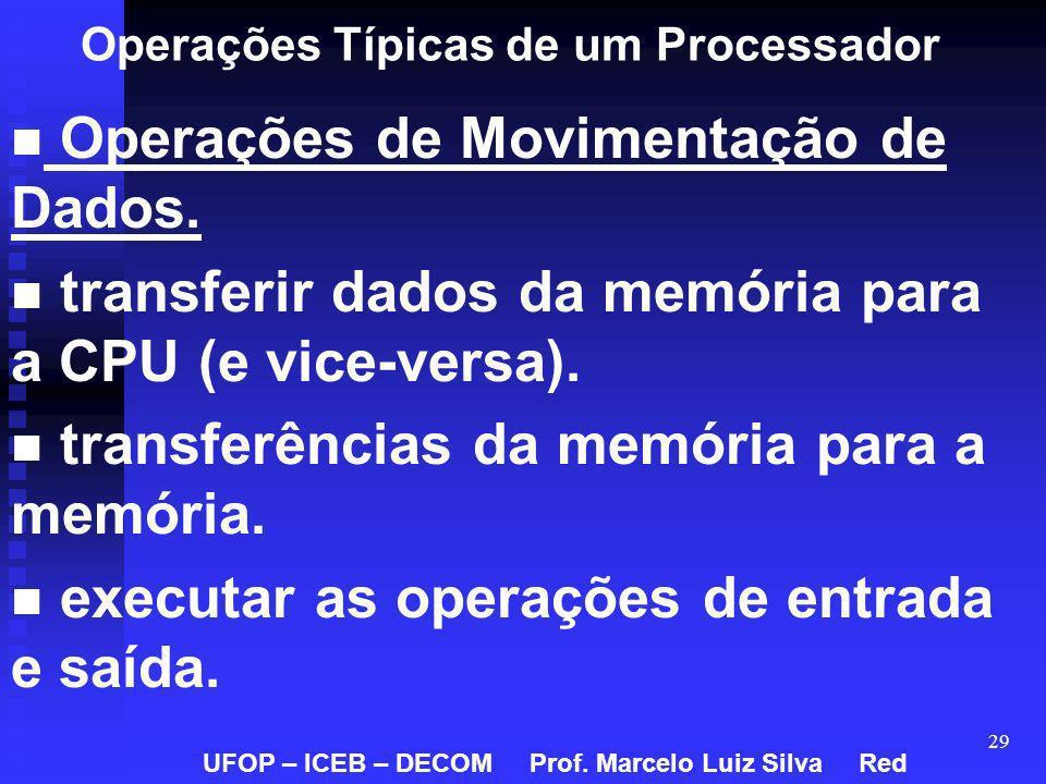 29 Operações Típicas de um Processador Operações de Movimentação de Dados. transferir dados da memória para a CPU (e vice-versa). transferências da me
