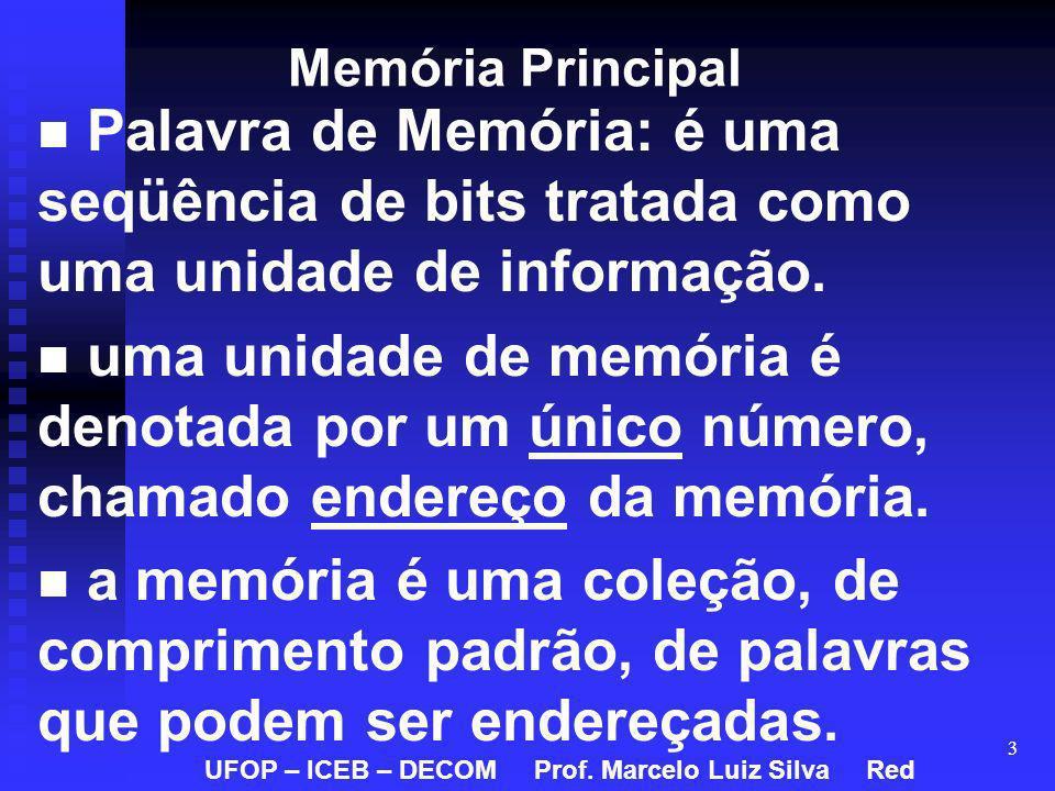 3 Memória Principal Palavra de Memória: é uma seqüência de bits tratada como uma unidade de informação. uma unidade de memória é denotada por um único