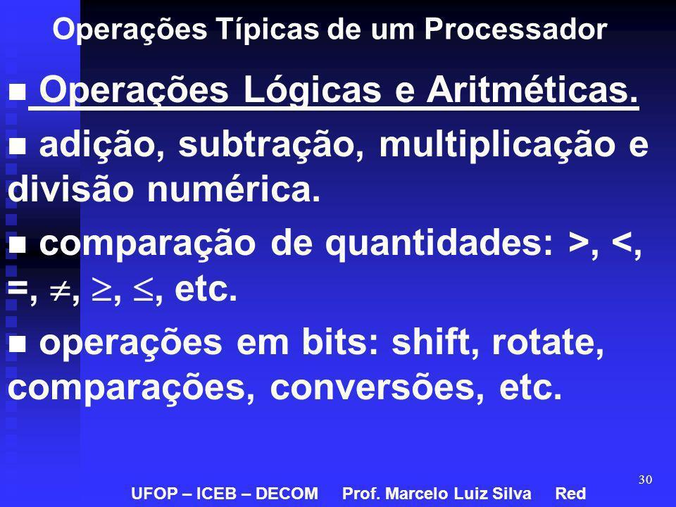 30 Operações Típicas de um Processador Operações Lógicas e Aritméticas. adição, subtração, multiplicação e divisão numérica. comparação de quantidades