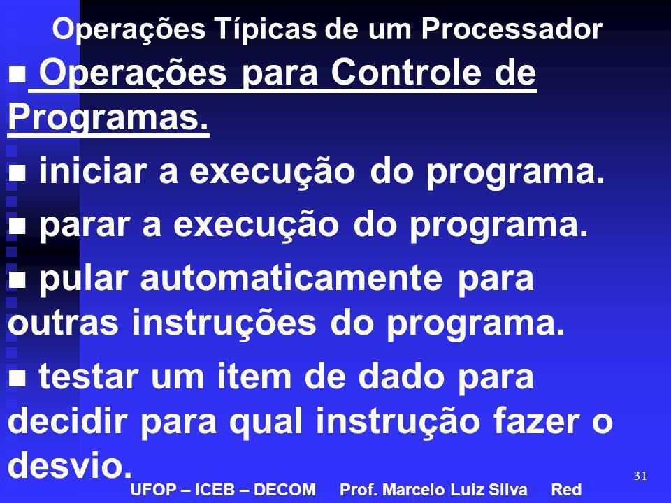 31 Operações Típicas de um Processador Operações para Controle de Programas. iniciar a execução do programa. parar a execução do programa. pular autom