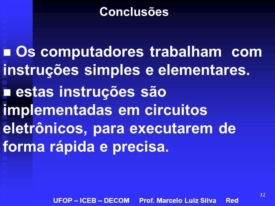 32 Conclusões Os computadores trabalham com instruções simples e elementares. estas instruções são implementadas em circuitos eletrônicos, para execut