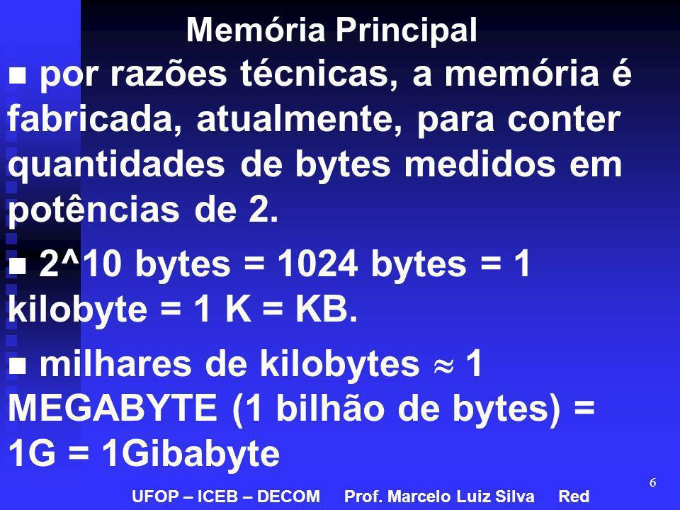 6 Memória Principal por razões técnicas, a memória é fabricada, atualmente, para conter quantidades de bytes medidos em potências de 2. 2^10 bytes = 1