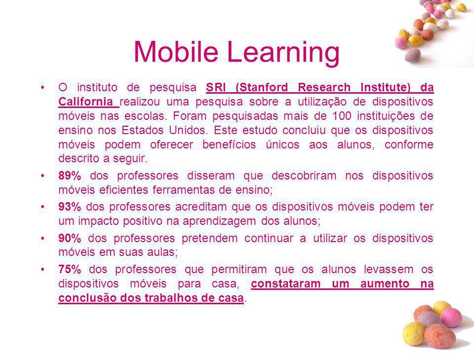 # Mobile Learning O instituto de pesquisa SRI (Stanford Research Institute) da California realizou uma pesquisa sobre a utilização de dispositivos móv