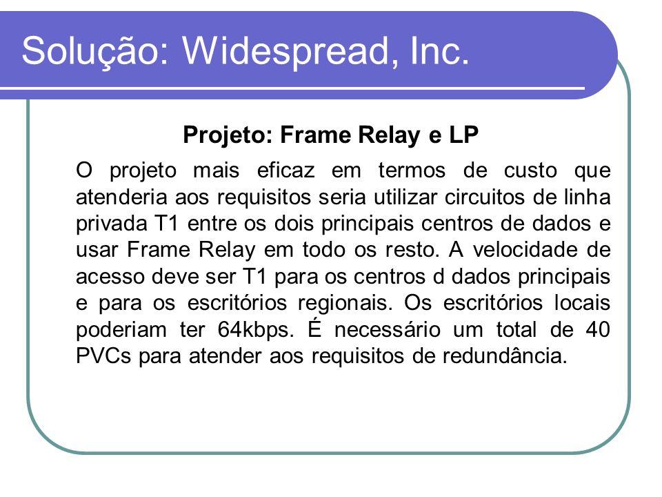 Solução: Widespread, Inc. Projeto: Frame Relay e LP O projeto mais eficaz em termos de custo que atenderia aos requisitos seria utilizar circuitos de