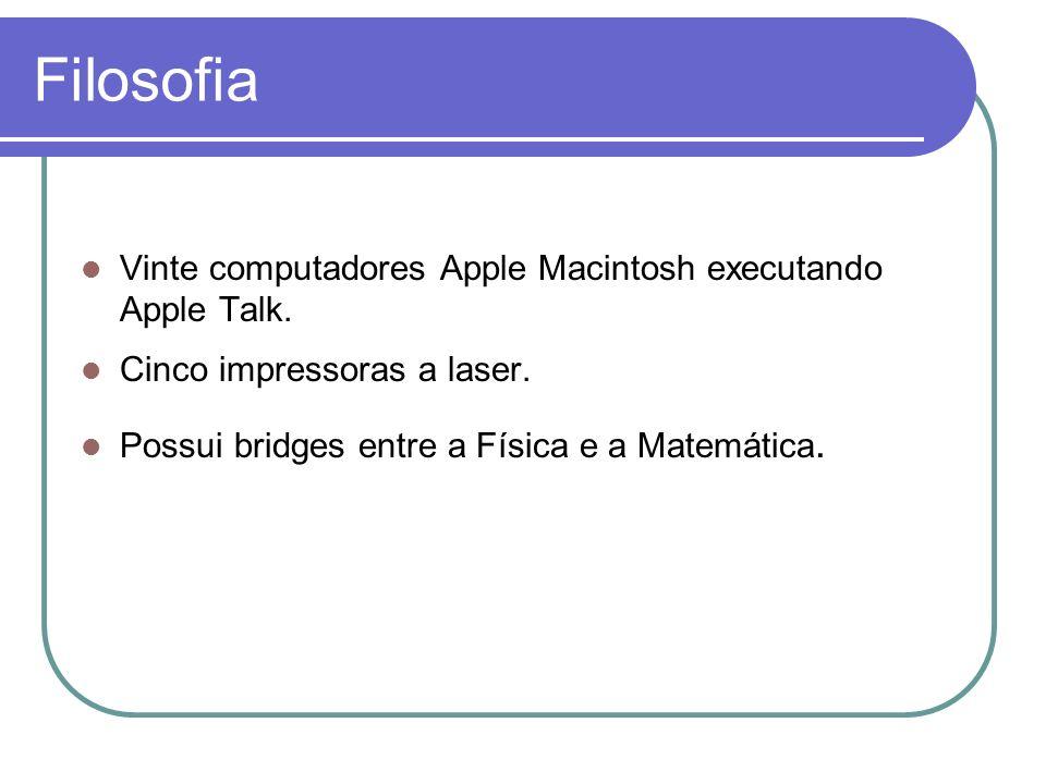 Filosofia Vinte computadores Apple Macintosh executando Apple Talk. Cinco impressoras a laser. Possui bridges entre a Física e a Matemática.