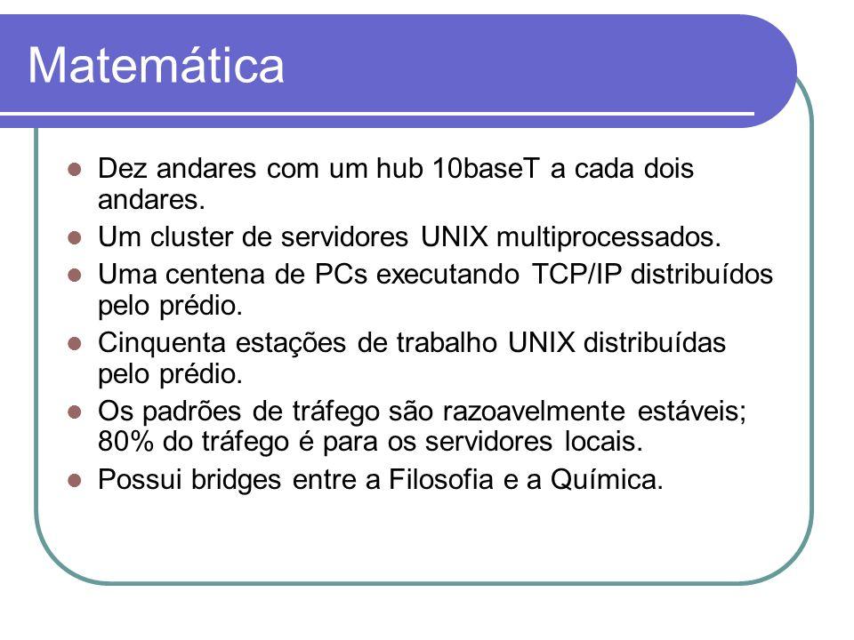 Matemática Dez andares com um hub 10baseT a cada dois andares. Um cluster de servidores UNIX multiprocessados. Uma centena de PCs executando TCP/IP di