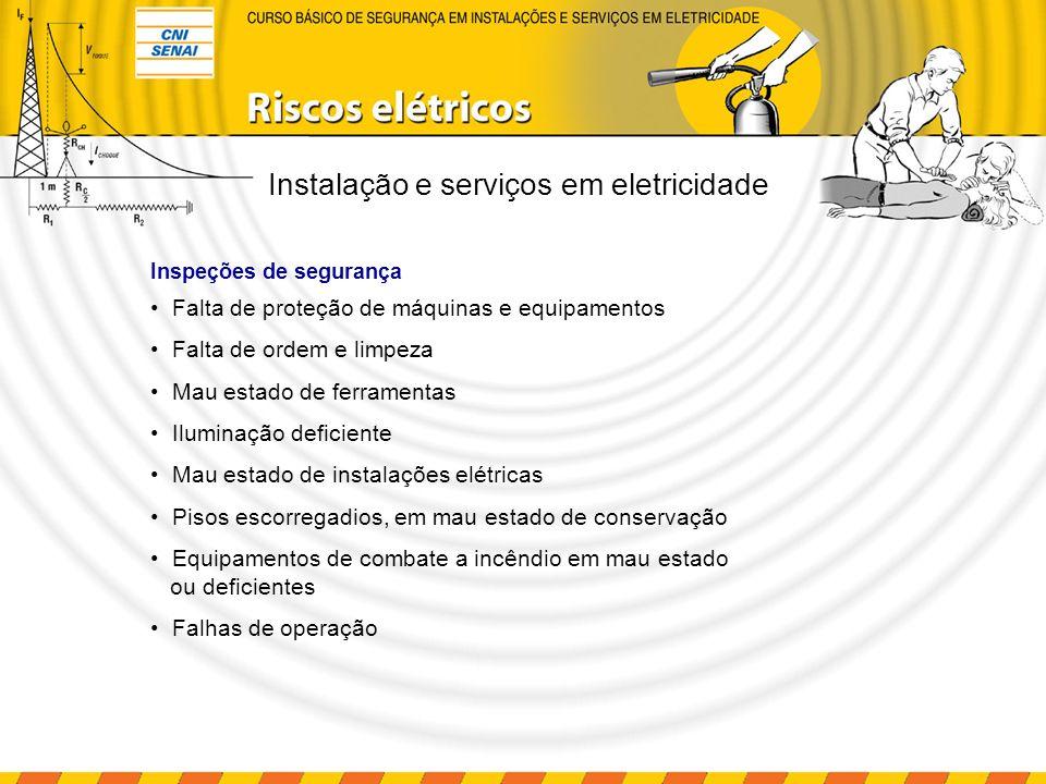 Instalação e serviços em eletricidade Falta de proteção de máquinas e equipamentos Falta de ordem e limpeza Mau estado de ferramentas Iluminação defic