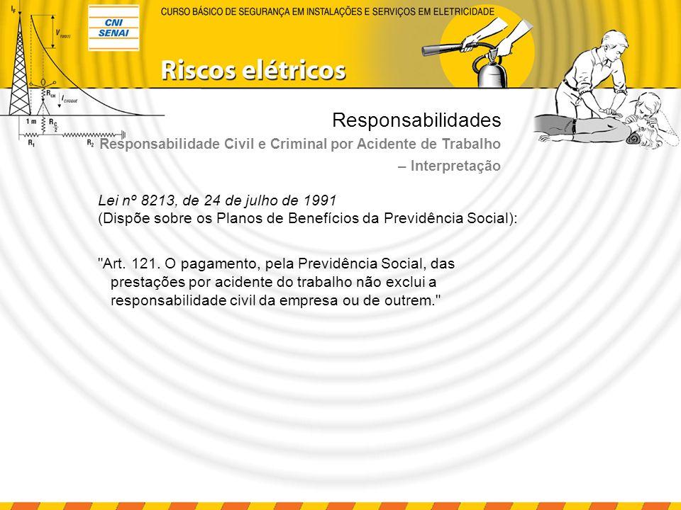 Responsabilidades Lei nº 8213, de 24 de julho de 1991 (Dispõe sobre os Planos de Benefícios da Previdência Social):