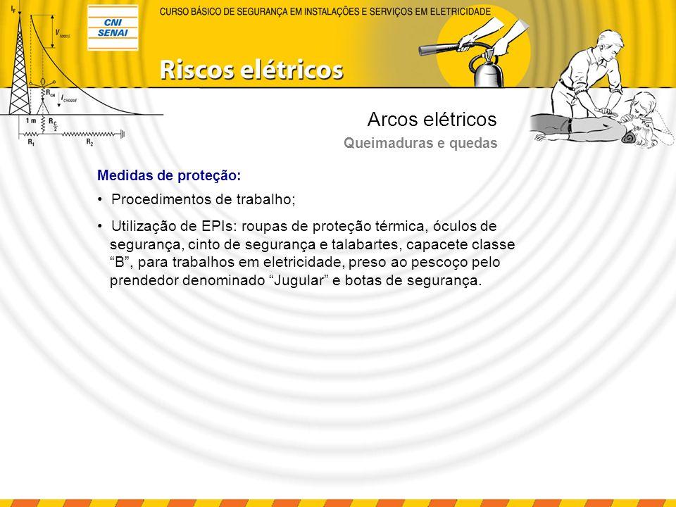 Arcos elétricos Queimaduras e quedas Medidas de proteção: Procedimentos de trabalho; Utilização de EPIs: roupas de proteção térmica, óculos de seguran
