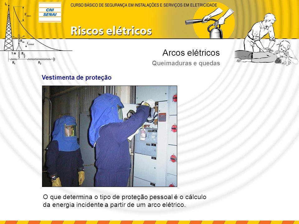 Arcos elétricos Queimaduras e quedas Vestimenta de proteção O que determina o tipo de proteção pessoal é o cálculo da energia incidente a partir de um