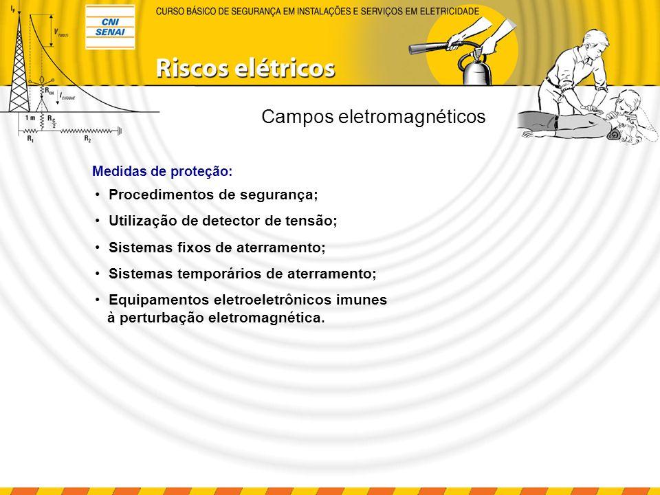 Campos eletromagnéticos Procedimentos de segurança; Utilização de detector de tensão; Sistemas fixos de aterramento; Sistemas temporários de aterramen