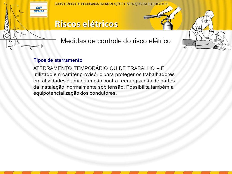 ATERRAMENTO TEMPORÁRIO OU DE TRABALHO – É utilizado em caráter provisório para proteger os trabalhadores em atividades de manutenção contra reenergiza