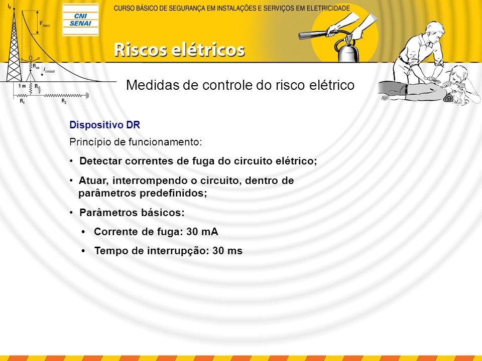 Dispositivo DR Princípio de funcionamento: Detectar correntes de fuga do circuito elétrico; Atuar, interrompendo o circuito, dentro de parâmetros pred