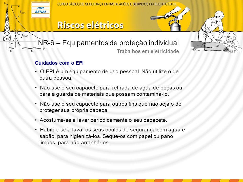 Cuidados com o EPI O EPI é um equipamento de uso pessoal. Não utilize o de outra pessoa. Não use o seu capacete para retirada de água de poças ou para