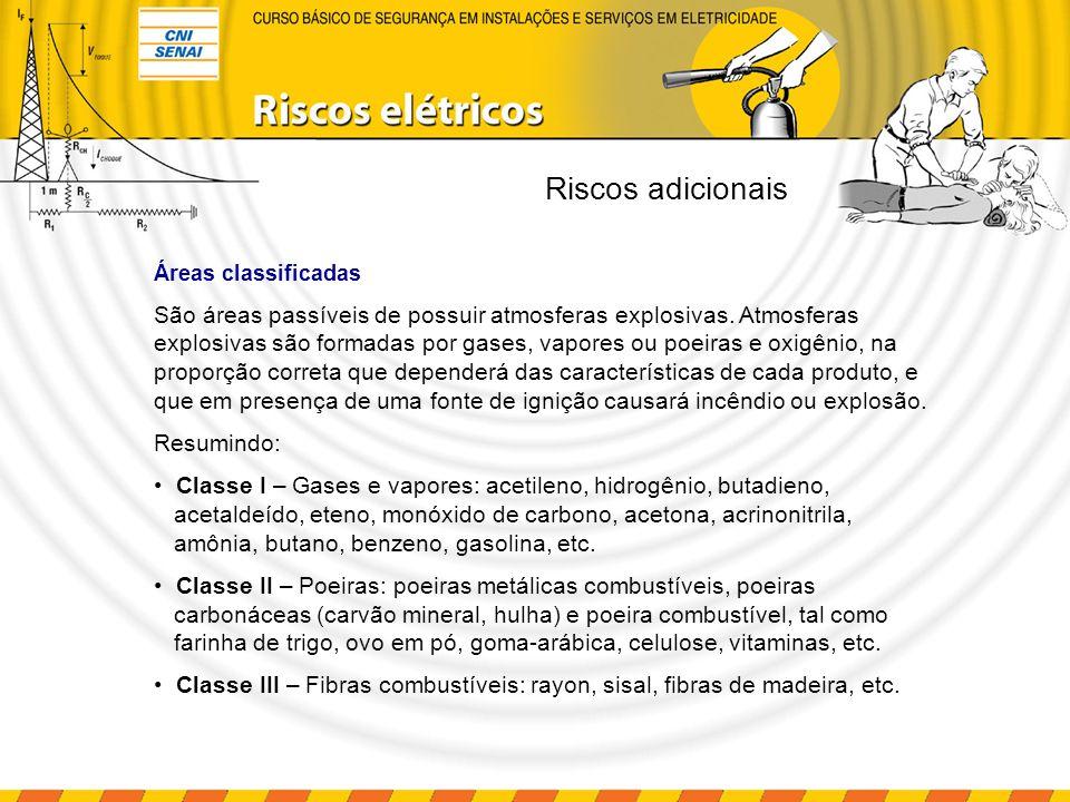 Riscos adicionais Áreas classificadas São áreas passíveis de possuir atmosferas explosivas. Atmosferas explosivas são formadas por gases, vapores ou p