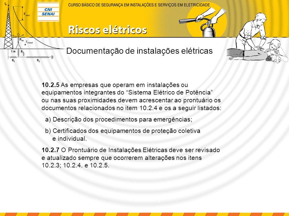 Documentação de instalações elétricas 10.2.5 As empresas que operam em instalações ou equipamentos integrantes do Sistema Elétrico de Potência ou nas